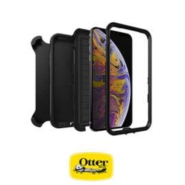 כיסוי OtterBox Defender שחור לאייפון XS - מגן 3 שכבות החזק בעולם כולל מנשא חגורה