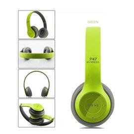 אוזניות בלוטוס דגם P47 מתקפלות עם מיקרופון שיחות ואיכות שמע מעולה