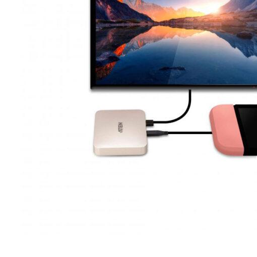 מיני תחנת עגינה מבית ATEN דגם UH3235 כוללת יציאות לטלפונים מחשב ו-USB ועוד