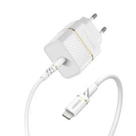מטען קיר Otterbox Premium למכשירי אפל הספק טעינה 20W כולל כבל USB-C ל-Lightning צבע לבן